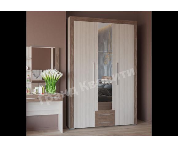 Азалия шкаф распашной 3-х дверный с ящиками (ясень шимо светлый/ ясень шимо темный)