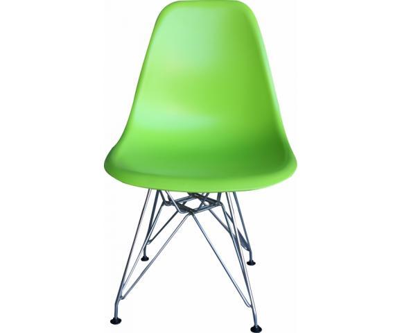 Стул обеденный, сиденье-пластик, каркас-хромированный, Зеленый - 8073
